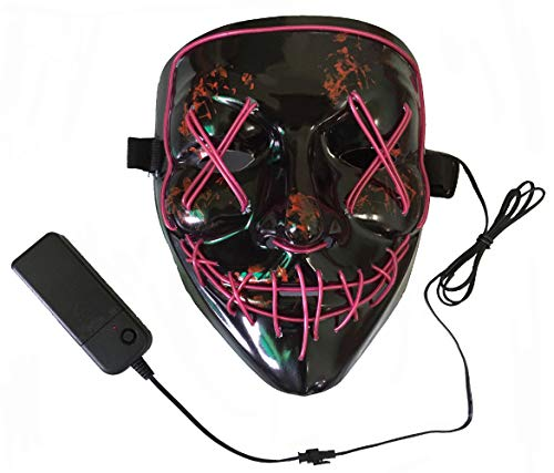 Neusky LED LEUCHT Maske, 3 Verschiedene Blinkmodi Elektronik Maske, Party Leuchtmaske (Schwarz-Lila)