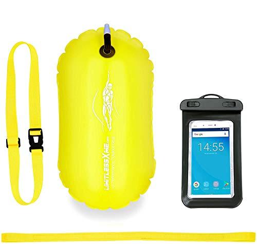 LimitlessXme Boya De Natación Amarilla con Funda para Móvil. Visibilidad y Seguridad al Nadar en el mar y en el Lago. Swim Buoy Inflable para Aguas Abiertas