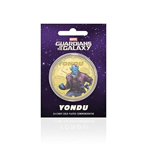 IMPACTO COLECCIONABLES Marvel Guardianes de la Galaxia - Yondu - Moneda / Medalla Conmemorativa acuñada con baño en Oro 24 Quilates y Coloreada a 4 Colores - 44mm