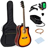 Best Choice Products 41in Full Size Acoustic Electric Cutaway Guitar Set w/Capo, E-Tuner, Gig Bag, Strap, Picks- Sunburst