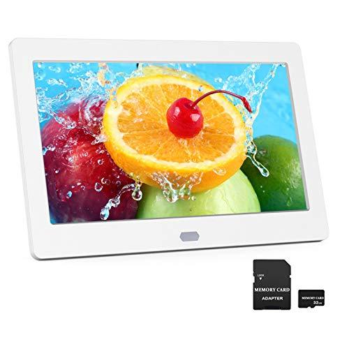 Digitaler Bilderrahmen 7 Zoll EastPoint Elektronischer Fotorahmen mit 32GB SD Karte, Hochauflösend IPS Bildschirm, Foto/Musik/Video-Player Kalender Wecker, Fernbedienung, Weiß