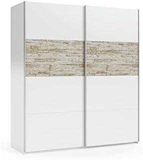 Mobelcenter - Armario Puertas correderas Vintage - Color Blanco y Vintage - Armario Dormitorio Matrimonio - Ancho: 180 cm. x Alto: 200 cm. x Fondo: 61 cm. - 0905