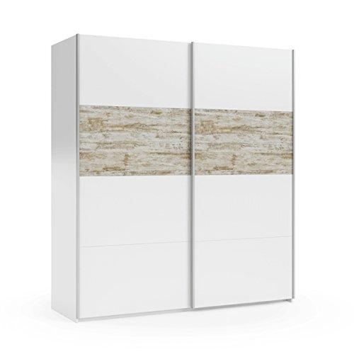 Mobelcenter - Armario Puertas correderas Vintage - Color Blanco y Vintage - Armario Dormitorio Matrimonio - Ancho: 180 cm. x Alto: 200 cm. x Fondo: 63 cm. - 0905