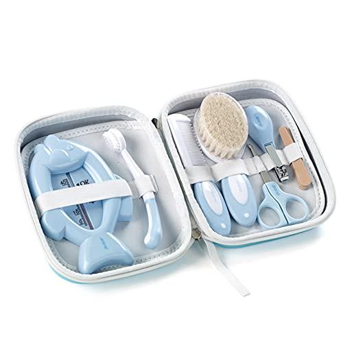 Jané Set de Higiene con Neceser, Peine, Cepillo Cerda Natural, Tijeras, Cortauñas, Limas, Cepillo Dental y Termómetro, Azul, Aquarel Blue