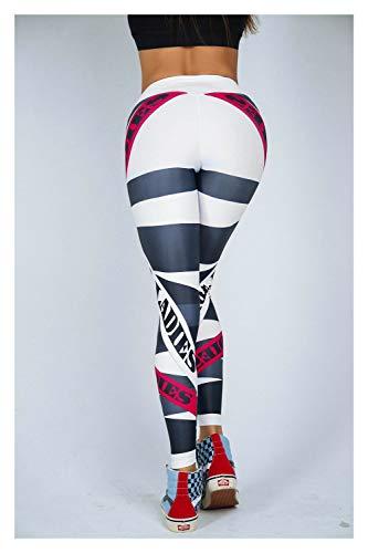 Pantalones de yoga para mujer de cintura alta con letra impresa para niña, para correr, fitness, gimnasio, deporte, pantalones ajustados (color: blanco, tamaño: XLarge)