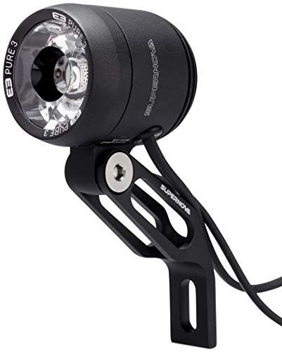 SUPER NOVA Unisex– Erwachsene E3 Pure 3 Frontlicht, schwarz, Dynamo
