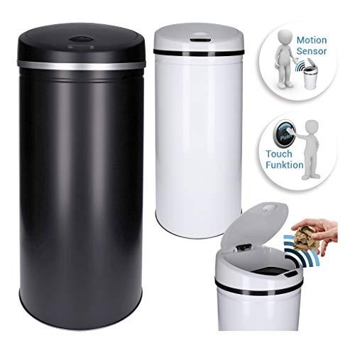 *GEORGES Sensor Abfalleimer 30L 40L 50L Edelstahl lackiert (Schwarz, 30 Liter)*