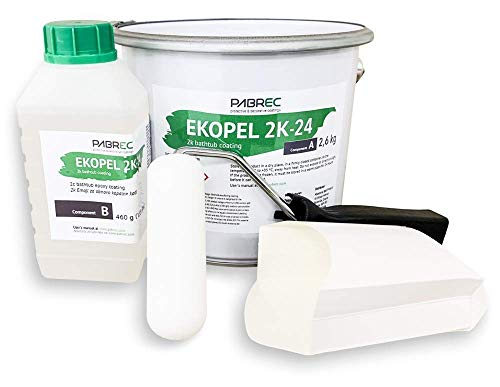 Pabrec Ekopel 2K Bathtub Refinishing Kit - Odorless DIY Sink and Tub Reglazing Kit - 20X Thicker Than Other Refinishing Kits- No Peel Pour On Tub Coating - Bright Gloss Tub Coating (Standard Tub Kit)