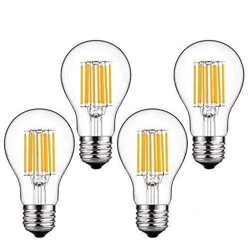 Bonlux 4-pack 10W E27 LED Classic filamento lampadina naturale 4000K bianco goccia A60 vite ES Vintage LED Edison lampadina 100W incandescente sostitu