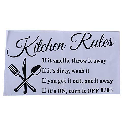 Ellepigy Creative Kitchen Rules Pegatinas de pared extraíbles para decoración del hogar, papel pintado de vinilo
