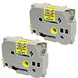 2 Compatibili Cassettes TZe-651 TZ-651 nero su giallo 24mm x 8m Nastri laminati per Brother P-Touch PT-2430PC 3600 9600 9700 9800 D600VP D800W E300VP E550WVP E850 H500 H500LI P700 P750W Etichettatrici