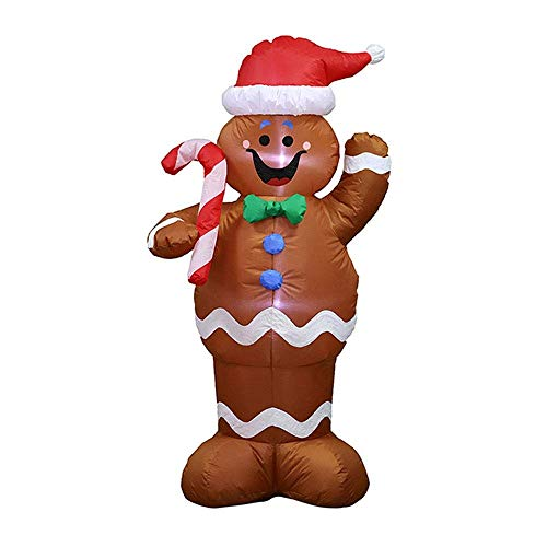 epinglu 4FT/5FT/6FT Tall Lighted Christmas Inflatable Santa Claus/Gingerbread Man/Nutcracker with Air Blown LED Lighted, Outdoor Indoor Holiday Yard Party Decoration Props