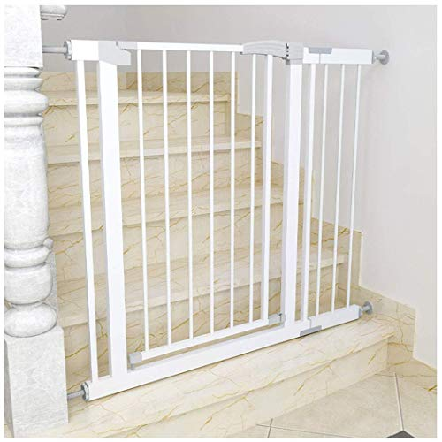 Baby Gate Stair Railing Baby Gates for Stairs Pet Fence Baby Safety Gate Bar Dual Lock Self Closing Self-Punch-Free (Color: White, Size: 130-137cm)