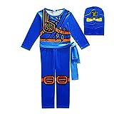 FINDPITAYA Déguisement Ninjago Masters of Spinjitzu Halloween Noel Ninjago Cosplay Costume avec Masque et Ceinture Enfant Bleu (110cm)