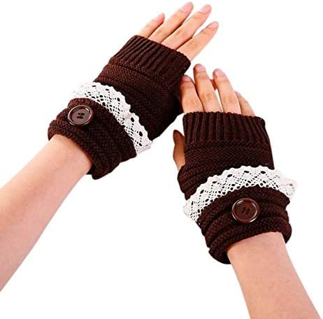 snowshine YLI Fashion Women Winter Short Lace Button Warmer Knitted Fingerless Gloves Mitten - (Color: Brown)