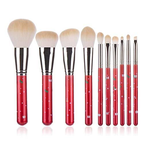 Ensembles de pinceau de maquillage de Noël, 10pc Poignée en bois Doux fibres synthétiques cheveux Kabuki Poudre Blush Eyeliner Fard à Paupières Liquide Brosse À Sourcils