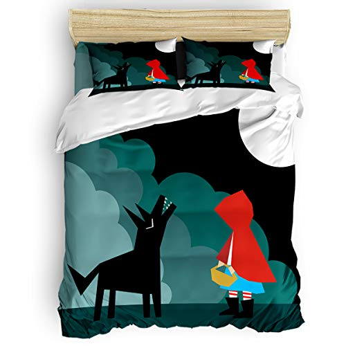 4 Pieces Luxury Duvet Cover Set Girl Wolf for Kids/Girl/Women/Adults Cartoon Breathable Bedding Comforter Cover Sets with Zipper, 4 Corner Ties California King