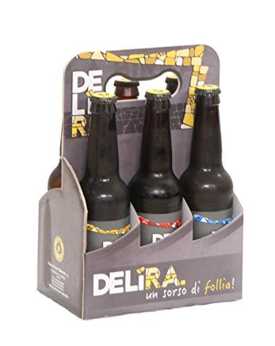 Birra Artigianale Cruda Italiana DELìRA - Confezione 6 Bottiglie 33CL - 2 Lager bionda, 2 Lager rossa, 2 Weiss - Prodotta Da I.C.B. Italian Craft Brewery