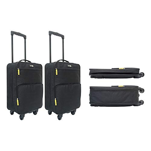 Set of 2 - Travel Ready 4-Wheel Lightweight Collapsible Cabin Luggage. Made of High Tensile Strength Materials. Approved for Ryanair EasyJet and All Major Airlines
