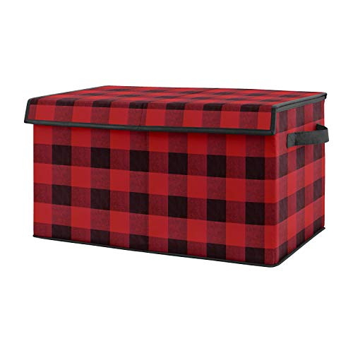 Sweet Jojo Designs Red and Black Buffalo Plaid Check Boy Small Fabric Toy Bin Storage Box Chest for Baby Nursery or Kids Room - Woodland Rustic Country Farmhouse Lumberjack Check