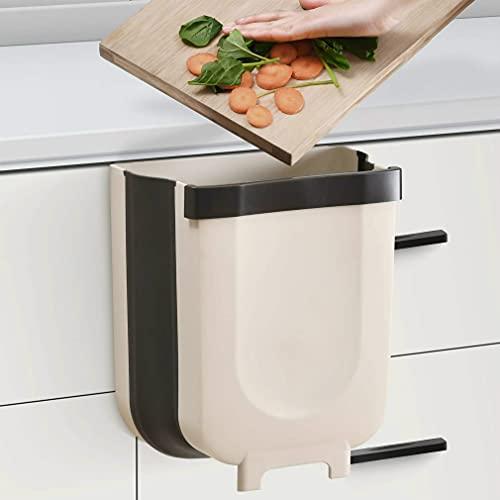 Pattumiera da cucina pieghevole da parete per armadietti e porta della spazzatura, può essere utilizzato in cucina, auto, bagno, soggiorno, camera da letto, 9 l (bianco)