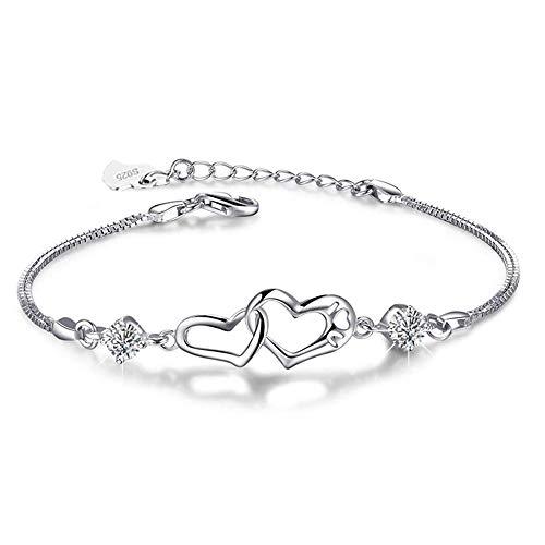 Fu You Damen Armband 925 Sterling Silber Armbänder mit Herz verstellbare Armkette Armband Für Damen