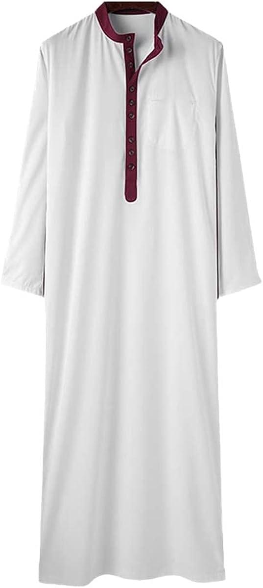 Fashion Men's Muslim Kaftan Stand Collar Stitching Long Sleeve Robe Islamic Arabic Jubba Thobe Men Middle East Dubai