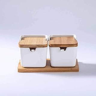 SHYPT Boîtes d'assaisonnement en céramique créative en céramique blanc assaisonnement Pot de bambou Couvercle de sel Stock...