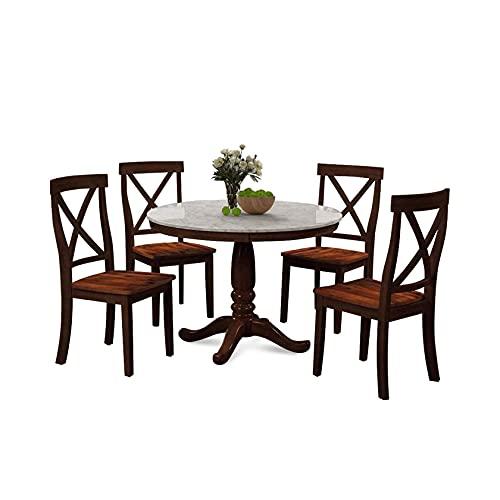 ラウンドダイニングセット、5ピースダイニングテーブルと椅子セット4人用、キッチンルーム無垢材テーブルと椅子4脚