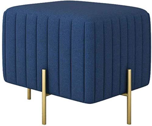 Schoen Bench Vierkant Ottoman voetenbankje Shoe Bench Rest Bank Gold Benen Footrest Poef gestoffeerde zitting Slaapkamermeubels kaptafel Kruk (Color : Blue, Size : 45 * 45 * 42cm)