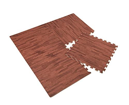 Estera de suelo en imitación de madera, 4 unidades, 60 x 60 cm, grosor 10 mm, esterilla protectora para el suelo, para deporte, fitness