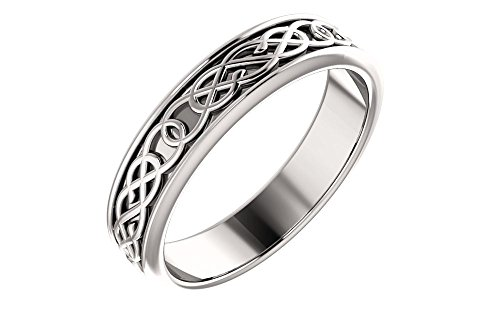 Jewels By Lux 14k White Gold 5mm Celtic-Inspired Wedding Ring Band Size 10
