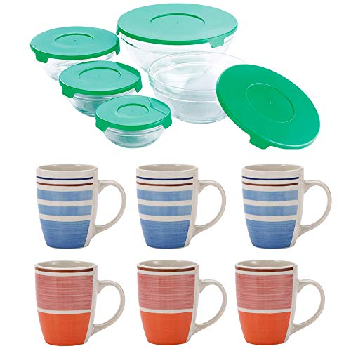 Renberg PK1179 Collection de 5 Boles en Verre et Lot de 6 Tasses/Mug, gres, Multicolor, Multi