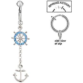 playful piercings Fake Belly Navel Non Clip on Blue Purple Celestial Filigree Moon cz Star Dangle Ring