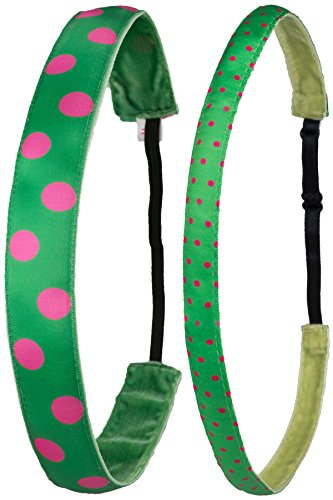 Ivybands® Mom's & Kids Edition | 2-er Pack | Green Pinky Dots | Anti-Rutsch Haarband für Mutter/Mütter & Kinder/Kind | Kinderhaarband IAMKID305