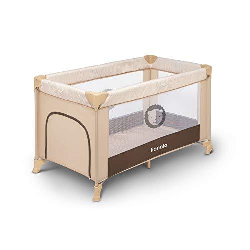 Lionelo Adriaa Laufstall Baby Baby Bett Reisebett Baby ab Geburt bis 15 kg Seiteneingang Lockguard System und Blockade der Räder Tragetasche zusammenklappbar (Beige)