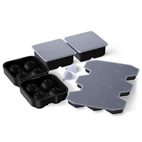 SAEYON [5 Stück] Silikon Eiswürfelform, 8+8+13 Fach Ice Cube Tray Eiswürfelformen mit Deckel LFGB Zertifiziert, Eiswürfelbehälter BPA Frei, für Whisky, Cocktails, Saft, Götterspeise (Typ A)