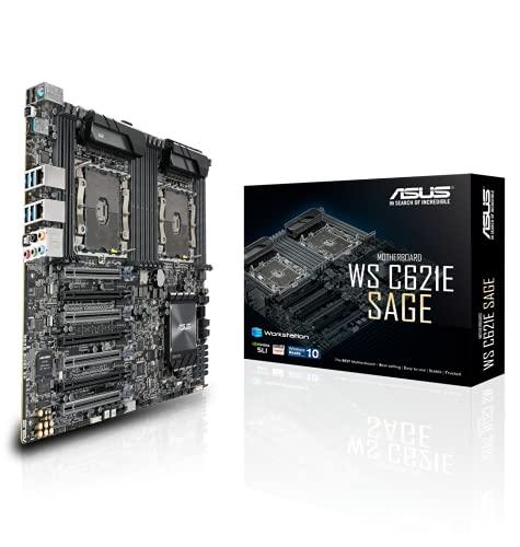 Asus WS C621E SAGE(BMC) Scheda Madre per Workstation, Intel Dual Processor Xeon Socket 3647, 4x Schede Video Dual Slot, RAM 12 Slot fino a 768 GB, EEB