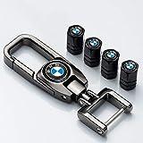 N/O 4 Pcs Metal Car Wheel Tire Valve Stem Caps for BMW 3 5 7 Series x3 x5 x4 x6 x7 m2 m3 m5 with a Keychain