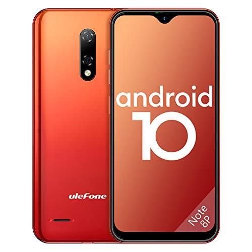 Ulefone Teléfono Móvil 2020, Note 8P Android 10 Smartphone Libre 16GB ROM (128GB SD), Pantalla 5.5  Water-Drop Screen Movil, 8MP 5MP, 2700mAh Batería, 3-Card Slot, GPS WiFi Hotspot-[Europea,Naranja]