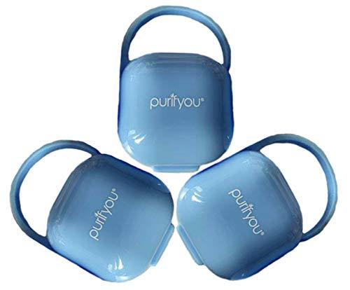 purifyou PurePouch Schnullerkoffer, Nipple Shield Tragetasche & Schnullerhalter Box | BPA-frei, ungiftig, tragbar | 3er-Set mit freiem Netzbeutel (3er-Set, Klares Blau)