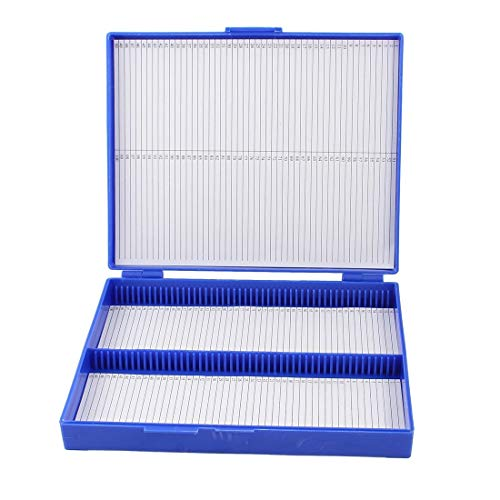 Tool Parts AYHF- Royal Blue Plastic Rectangle Hold 100 Microslide Slide Microscope Box