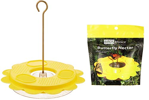 Naturesroom Birds Choice Butterfly Feeder Kit - Includes 1001 Flutterby Plus a Bonus Pack of Butterfly Nectar