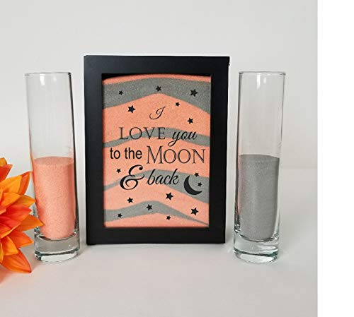 Streamside Shoppe Sand Ceremony Set, I Love You to the Moon, Shadow Box Wedding, Vow Renewal, Unity Sand Ceremony Set, Beach Wedding Decor, Unity Candle Set,