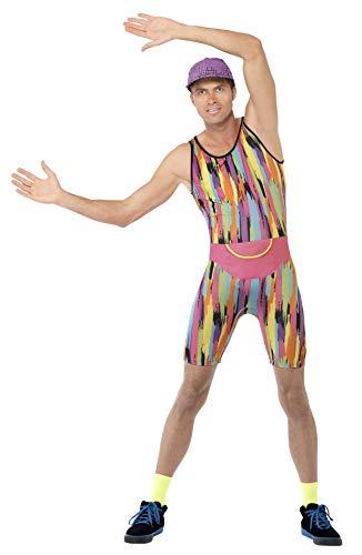 Smiffys Herren Aerobic Instructor Kostüm, Jumpsuit, Mütze und Bauchtasche, Größe: L, 23696
