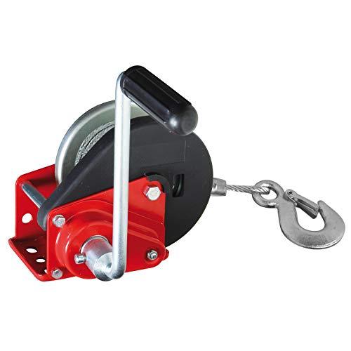 Valex 1650140 VERRICELLO Manuale con Freno Automatico, Fune E Gancio, Rosso e Nero