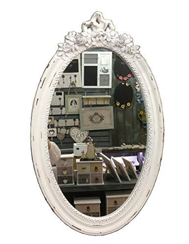 GMMH Charmanter Landhaus Holz Wandspiegel weiß Spiegel antik Garderobenspiegel Flurspiegel Barock