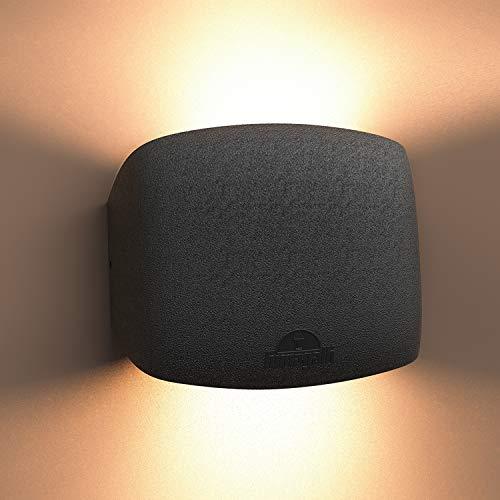 """Wandleuchte innen/Außen schwarz, wandleuchten innen modern von Registrierter """"FUMATECH"""" Haltbarkeitstechnologie, wandbeleuchtung schlafzimmer wandlampe wandstrahler inkl Austauschbarer Warmweiß Lampe"""