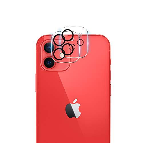 【2枚】QULLOO iPhone 12 mini 用 カメラフイルム 5.4インチ 2眼 レンズ保護フィルム 露出オーバー防止 強化ガラス 全面保護 硬度9H キズ防止 高透明度 耐衝撃 防塵 飛散防止 iPhone12 mini 2020 用 レンズフィルム