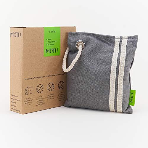 MOTU Geruchsneutralisierer Wohnung - 100% Bambus Aktivkohle - Kleiner Luftentfeuchter & Lufterfrischer - Reduziert die Feuchtigkeit im Auto & in der Wohnung, Schlafzimmer, Schrank - 200g